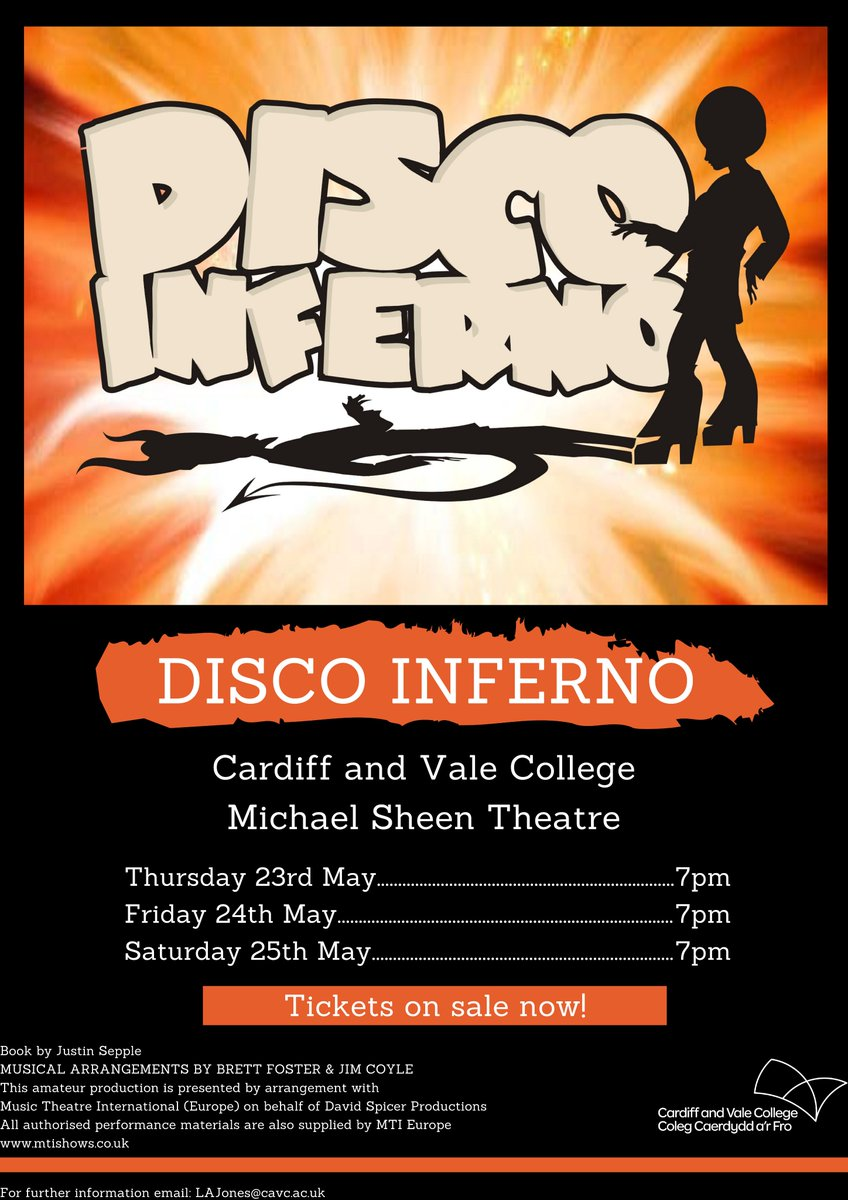 We are proud to announce that the CAVC Performing Arts Group will be performing DISCO INFERNO and everyone is welcome! There will be three performances on 23rd, 24th, and 25th May. To book your tickets please click here - https://www.ticketsource.co.uk/whats-on?q=cardiff%20and%20vale%20college…