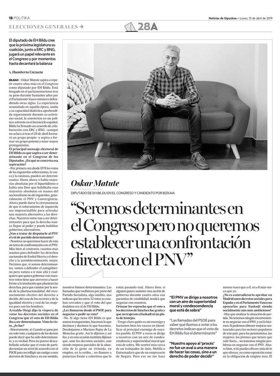 """""""Me sentiré más cerca de un trabajador de Jaén, Melilla o Extremadura que de un empresario de Neguri. Pero eso no me hace menos vasco que a él [Ortuzar], ni a él más vasco que yo"""" @OskarMatute 👇🏻"""