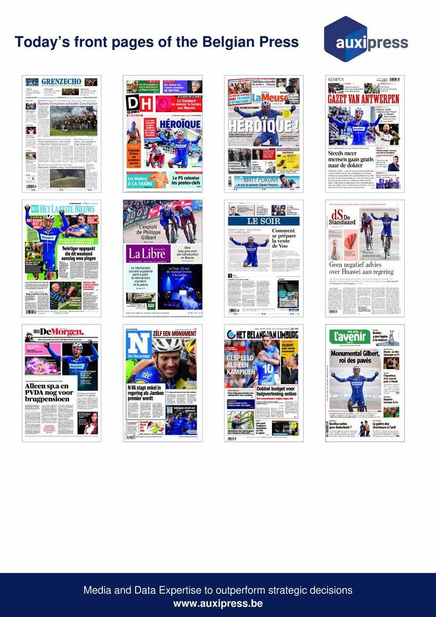 #Newsoftheday 📰💡📝- Discover today's front pages of the #BelgianPress ! #ParisRoubaix #PhilippeGilbert #Belge #België #Anderlecht #RSCA #Standard #RSCL #Mauves #StarWars #StarWarsIX #Didillon #MPokora  #Uber #FuseBrussels #EmmanuelMacron #Voo