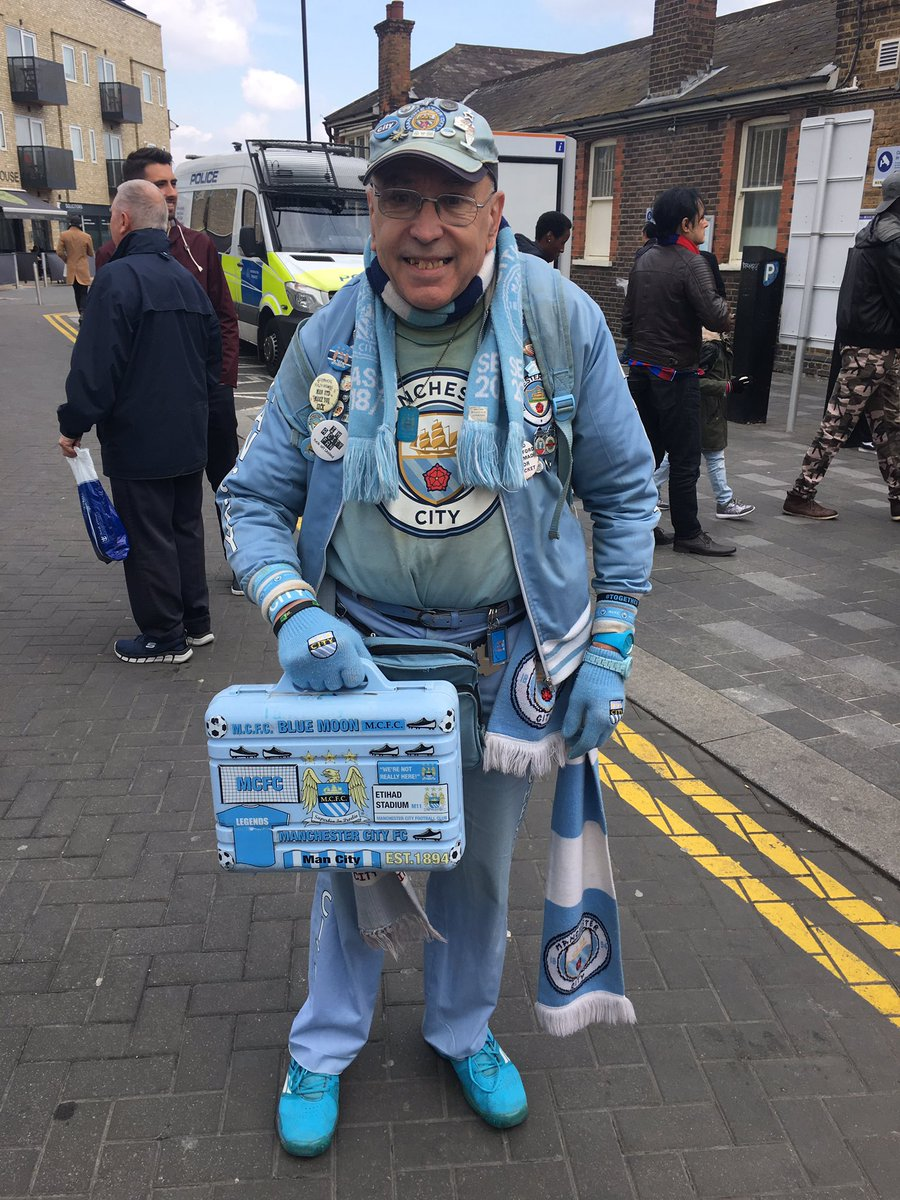 Brilliant meeting ardent @ManCity fan, 73-year-old Peter Berry at Selhurst Park yesterday - has been watching games, home and away since the fifties.