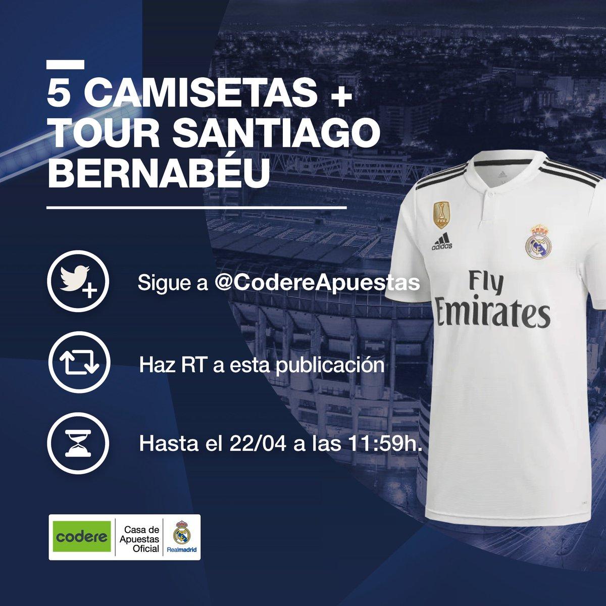 RT CodereApuestas: 👕➕👌🏟 ¿Quieres ganar una CAMISETA del Real Madrid C.F. y una entrada doble para el TOUR del ESTADIO Santiago Bernabéu? ¡Hay 5 en juego y tú puedes ser uno de los afortunados! Sigue las instrucciones de la imagen... CodereApuestas | …