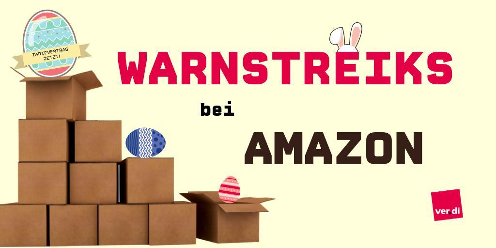 📦 Tarifflucht bei #Amazon stoppen! Um ihre Rechte, einen #Tarifvertrag & höhere Löhne durchzusetzen, bestreiken die Beschäftigten die Standorte  📍Rheinberg & Werne,  📍Bad Hersfeld,  📍Koblenz Dauer der #Warnstreik|s: https://bit.ly/2XdJOgI #Ostern