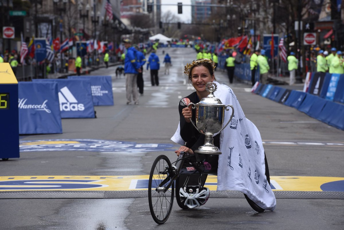 Congratulations to our 1st place wheelchair finishers Manuela Schar and Daniel Romanchuk the @CityOfBoston is very proud of you!   #BostonMarathon #OneBostonDay | @BAA<br>http://pic.twitter.com/ffdxr5Egh0