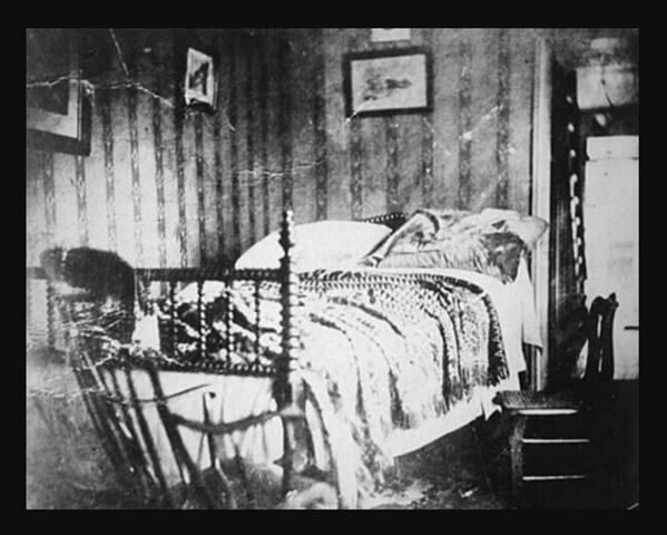 Lincoln died in this bed at 7:22 this morning 1865 after being taken across street from Ford's Theatre to Petersen House, Washington DC: