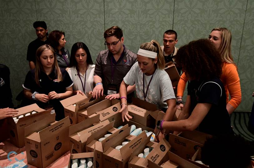 NCAA Student-Athlete Leadership Forum participants assembled 1,500 care packages for victims of domestic violence in the local Orlando area in collaboration with the One Love Foundation. #LearnLead