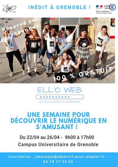 ELL'OWEB recherche des #collégiennes à partir de la 3ème et #lycéennes pour participer à une semaine de découverte du #numerique à #Grenoble ! Au programme : la création d'un T-shirt.  Inscription GRATUITE ! #Vacances #paques #orientation --> A partager ! https://t.co/d6IJylkSyA