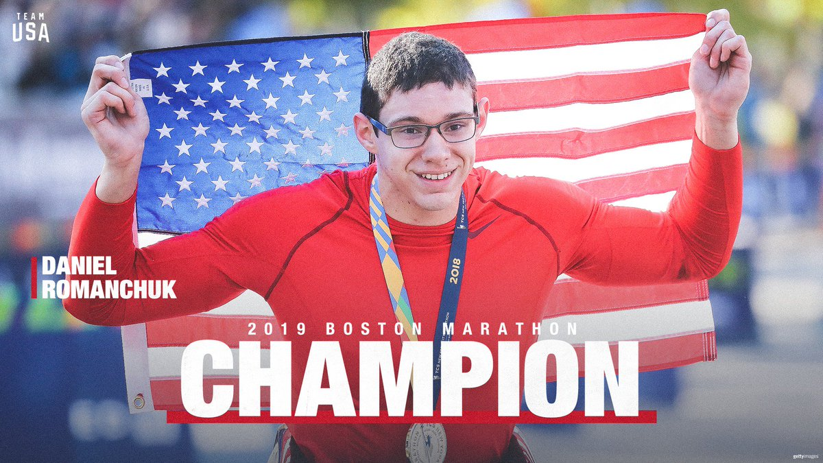 BIG-time congrats to @USParalympics&#39; Daniel Romanchuk.  He becomes the first American to capture the @bostonmarathon wheelchair title since 1993 (AND the youngest winner!) #Boston2019 <br>http://pic.twitter.com/hP2WsNAZac