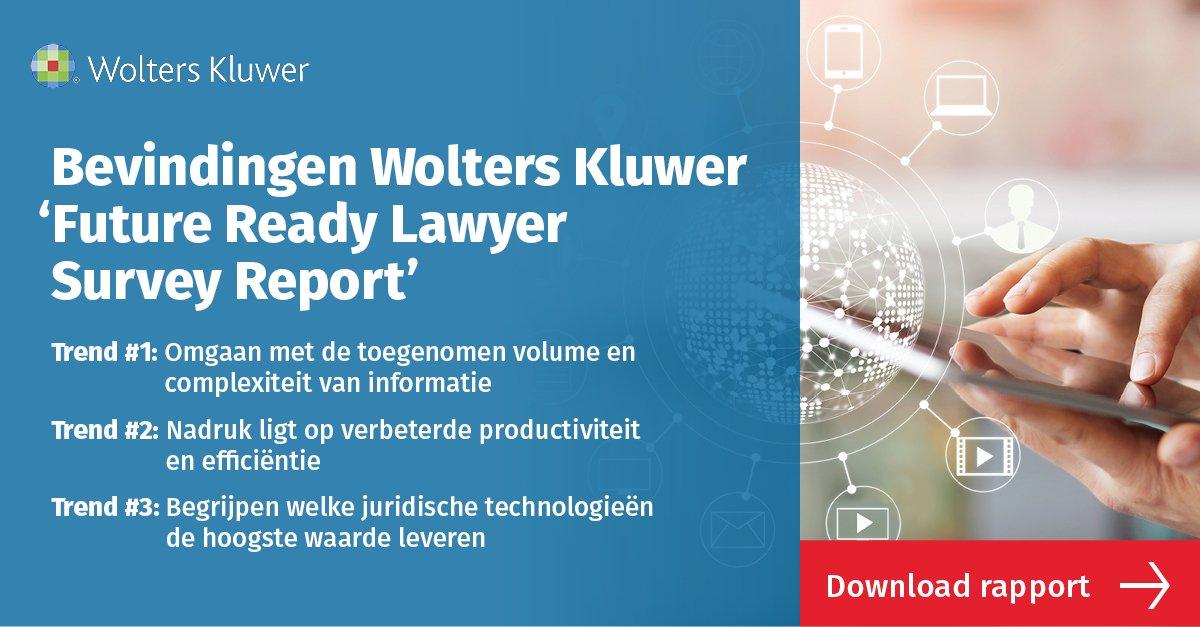 Lees meer over de top trends waarvan verwacht wordt dat ze de komende 3 jaar van invloed zullen zijn op #juridische professionals. Download het het (gratis) survey rapport ➡️ https://t.co/nqrbKMFe7q #legaltech #law cc: @Wolters_Kluwer https://t.co/Dtzskr0hjT