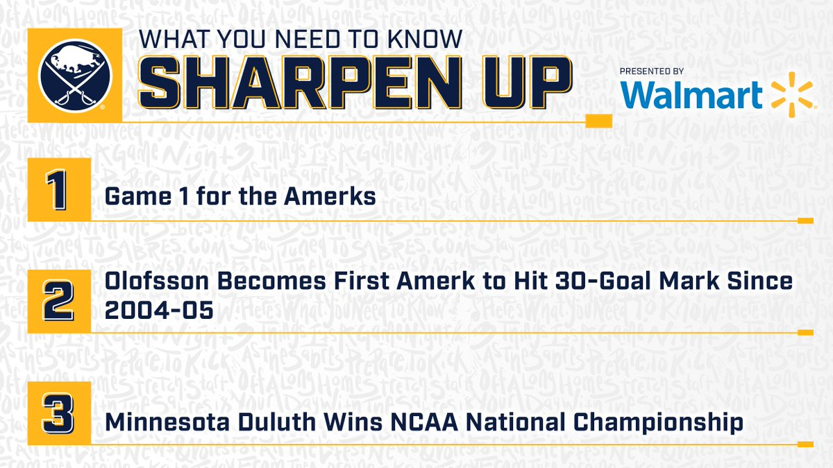 .@AmerksHockey will face Toronto in the first round of the #CalderCup playoffs.   All you need to know about the matchup in #SharpenUp: http://bufsabres.co/wZhYnc