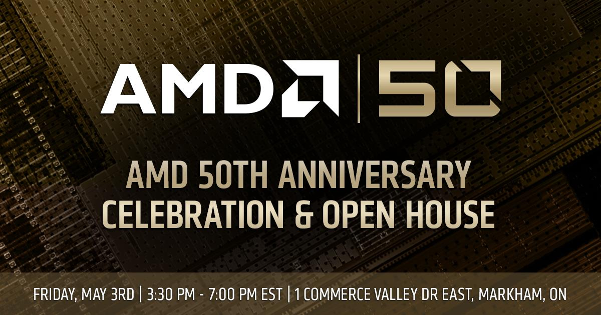 Multinational tech company @AMD will be hosting a 50th anniversary celebration & open house at the AMD Canada HQ in #Markham, #YorkRegion on Friday, May 3rd! They are inviting the broader #YRtech business community to come celebrate w/ them. Details below...