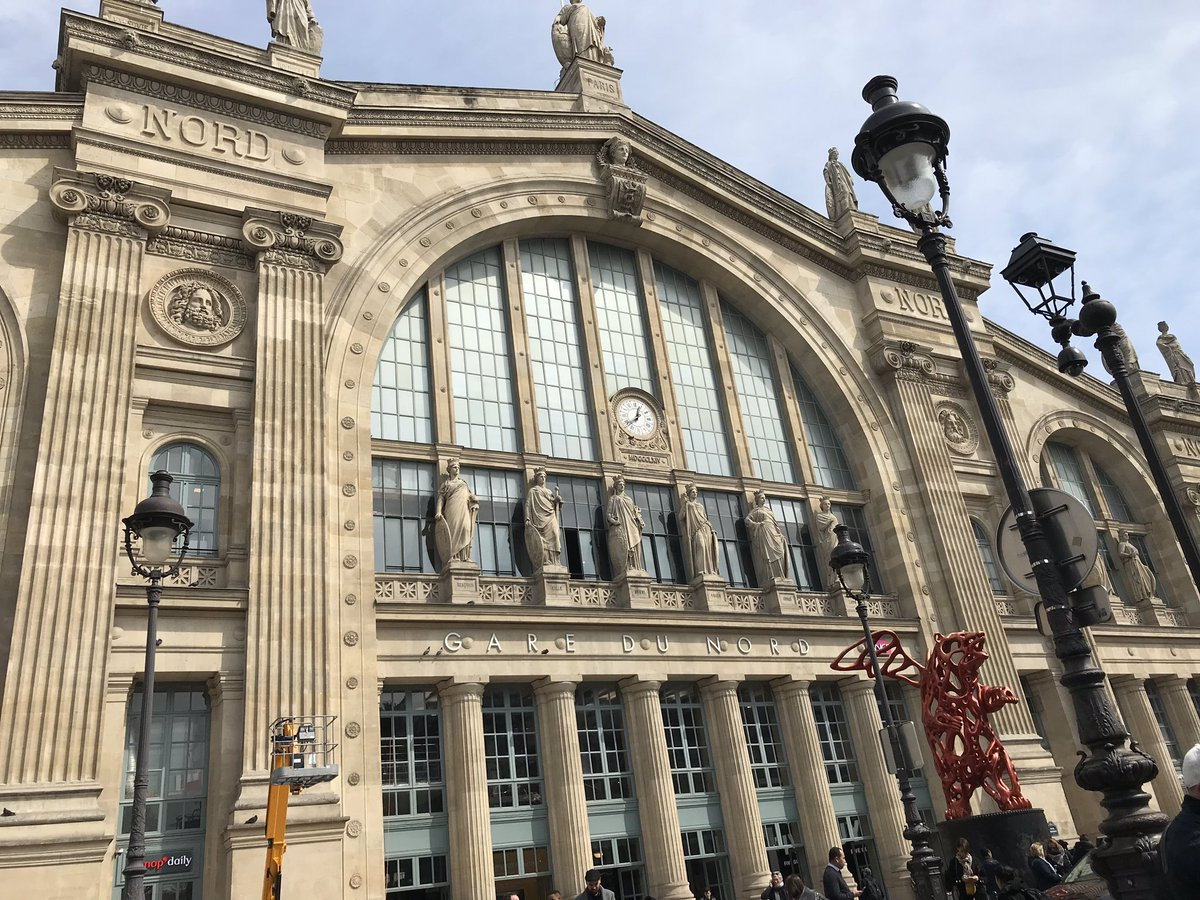 Arrived at Gare du Nord!  Would you believe the French Eurostar Customs are on strike, so looking like another 2 hour delay  #UpdatesfromTiff<br>http://pic.twitter.com/P8jLL2gyNl
