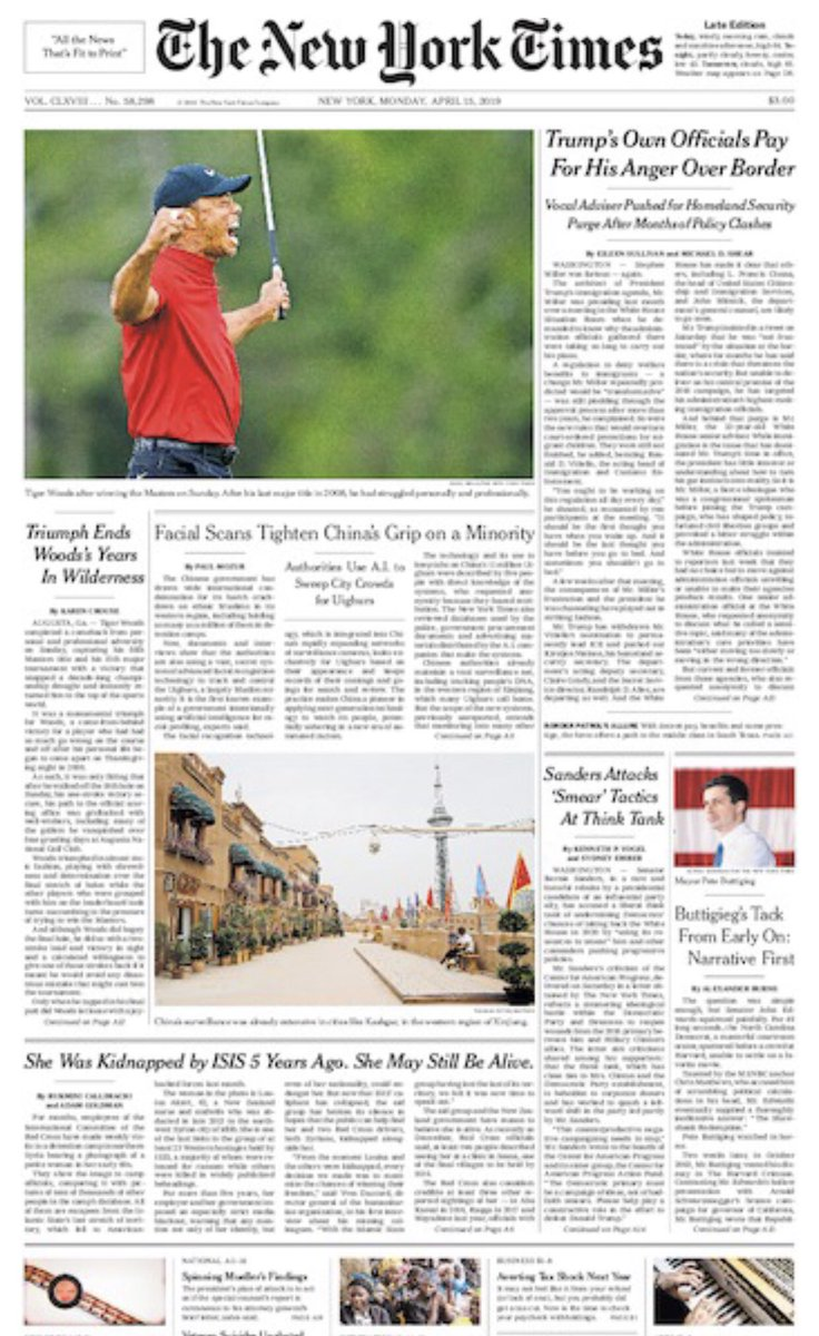 Golf has so many intriguing young stars, but there's only one dude who can land on the front page of The New York Times, above the fold: Tiger. #NotFakeNews
