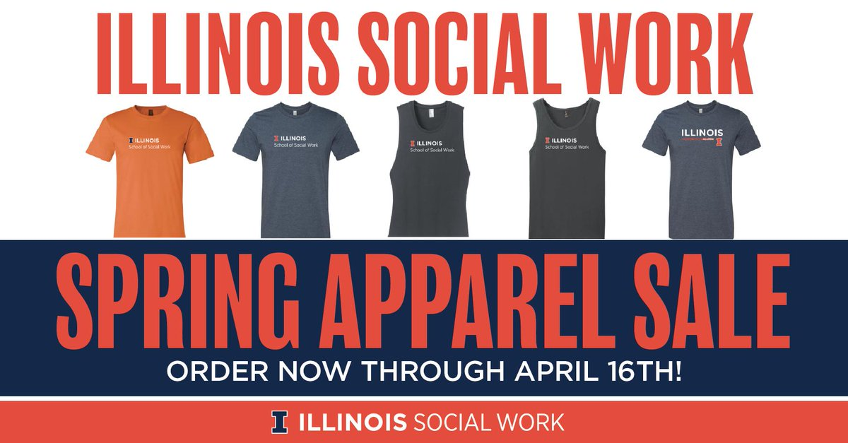 LAST CALL! The chance to order #ILLINOISsocialwork apparel ends tomorrow (4/16) at midnight! socialwork.illinois.edu/spring-apparel…