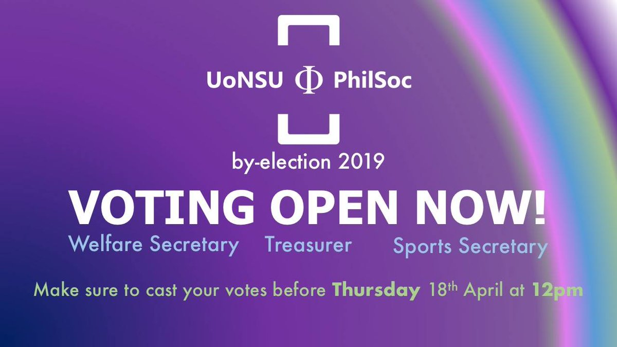 Voting is now open for our by-election until this Thursday, make sure you vote at:  https://www. su.nottingham.ac.uk/societies/soci ety/philsoc/elections/ &nbsp; … <br>http://pic.twitter.com/dawp7OGjzf