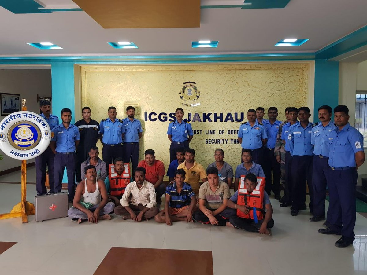Indian Coast Guard rescues 7 crews of sinking barge of Mitha port in Gujarat, search on for one missing crew