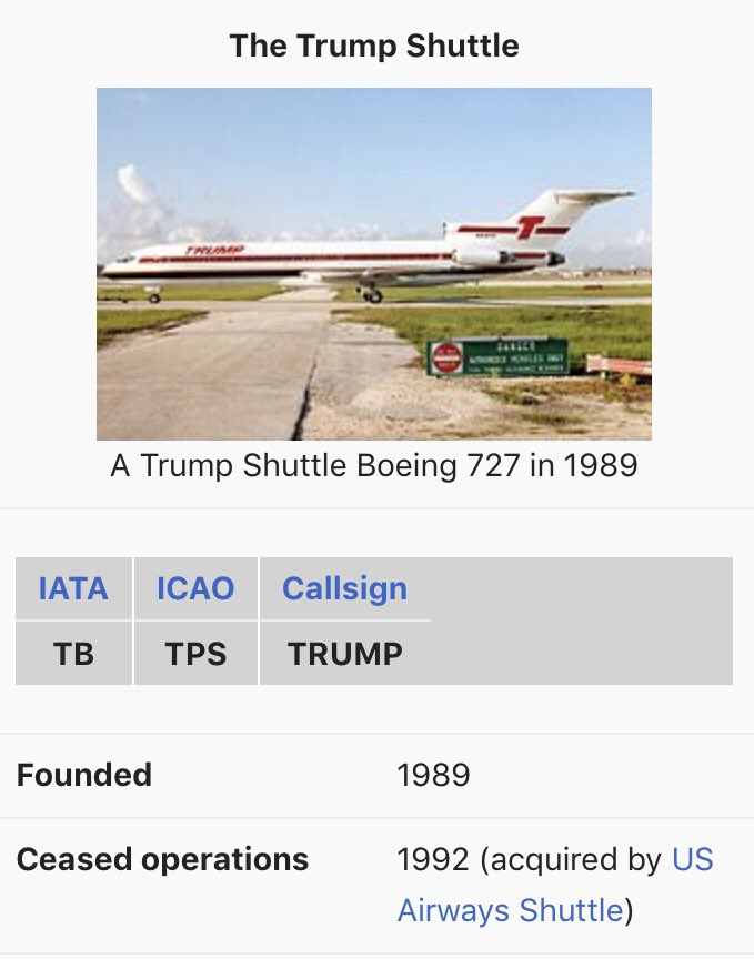 Yeah what DO u know about the airline industry U bought an existing airline n 1989 4 $365 million,  MORE than it cost 2 start a brand new 1. Then u drove #TrumpShuttle into the ground. It ceased 2 exist n 1992, YOU owed almost $150 million n debt n the end. #RocketScience<br>http://pic.twitter.com/6v4opNx3jM