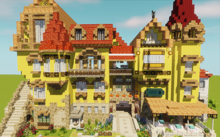 Planetminecraft Twitterissa Here S One Of The Entries In Our Spring Fling Community Event This Bright Colorful House By Muse Syu Has So Many Unique Details Our Favorite Is The Gigantic Indoor Tropical Aquarium