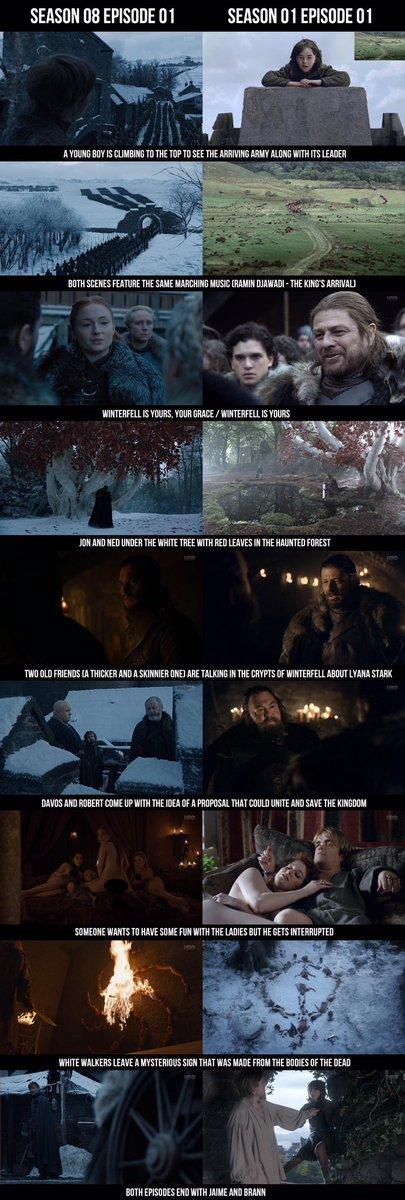 *GoT SPOILER WARNING*  A lot of symmetry between Season 8 Episode 1 and Season 1 Episode 1. #GamefThrones