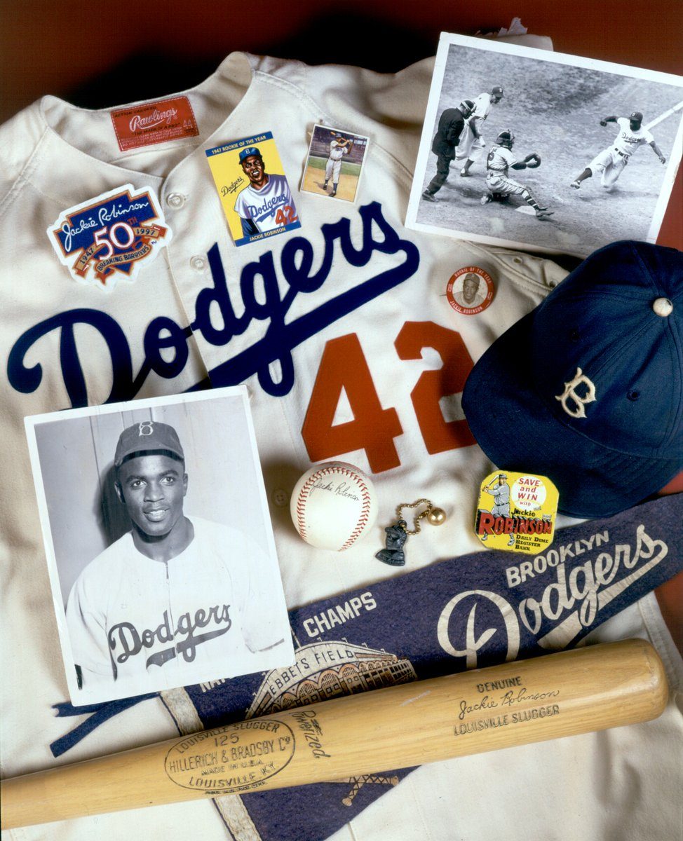 In celebration of #JackieRobinsonDay and in honor of the centennial of his birth, we're going to be sharing a series of photos and artifacts that tell the story of his life and enduring legacy. Photo: Milo Stewart Jr. <br>http://pic.twitter.com/f2VYVNu6sT
