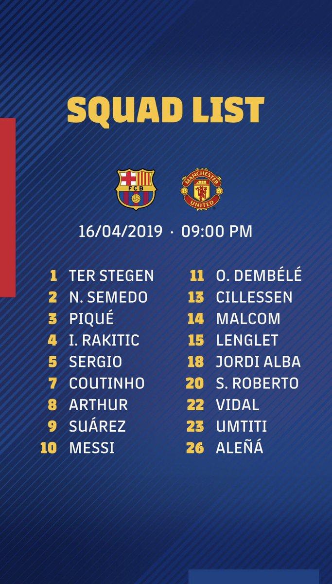 Convocatoria del Barça:  🔙 Vuelven Messi, Suárez, Piqué, Busi, Rakitic y S.Roberto  ⛔️Descartados: Boateng, Murillo y Todibó  🤒 Lesionado: Vermaelen #champions