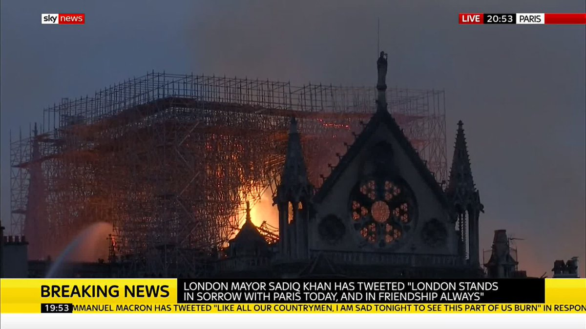 """People were howling and gasping"" when the spire collapsed.  Tourist Christopher Bloore describes the scene in Paris as a fire engulfed #NotreDame cathedral.   Here's everything we know about the fire: http://po.st/MOim32"