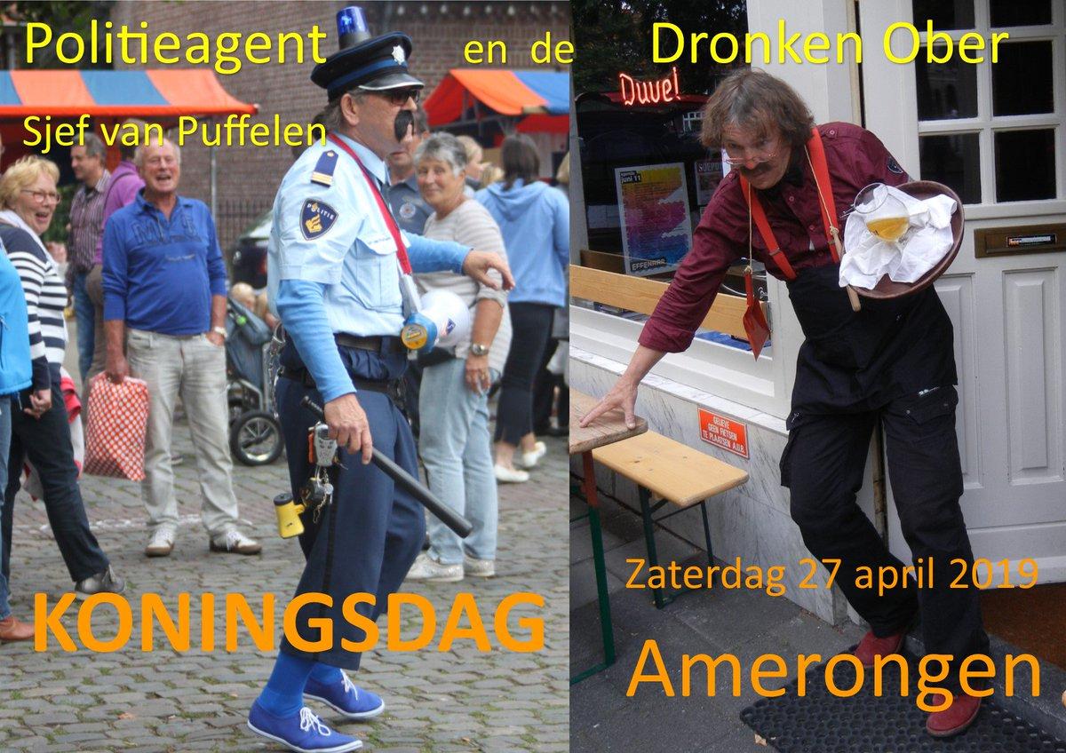 Met #Koningsdag Zaterdag 27 april 2019 kun je in #Amerongen deze twee gasten tegenkomen. Je bent gewaarschuwd!!! #Politieagent #DronkenOber #Straattheater #ZinIn