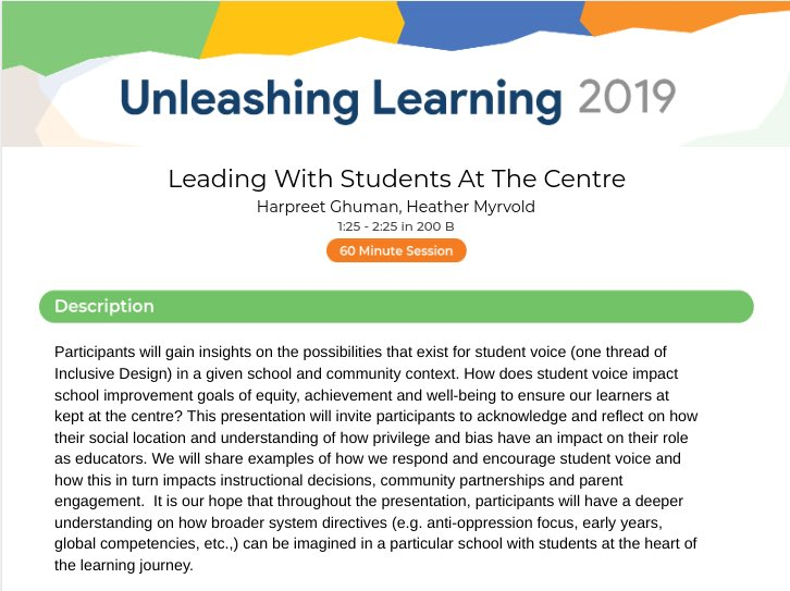 "Looking forward to @tdsb #unleashinglearning On April 25, join us at 1:25pm in Room 200B for ""Leading with Students at the Centre"" #inclusivedesign #wearecrescenttown @malloy_john @LC4_TDSB https://sites.google.com/tdsb.on.ca/unleash-learning-2019/ …"