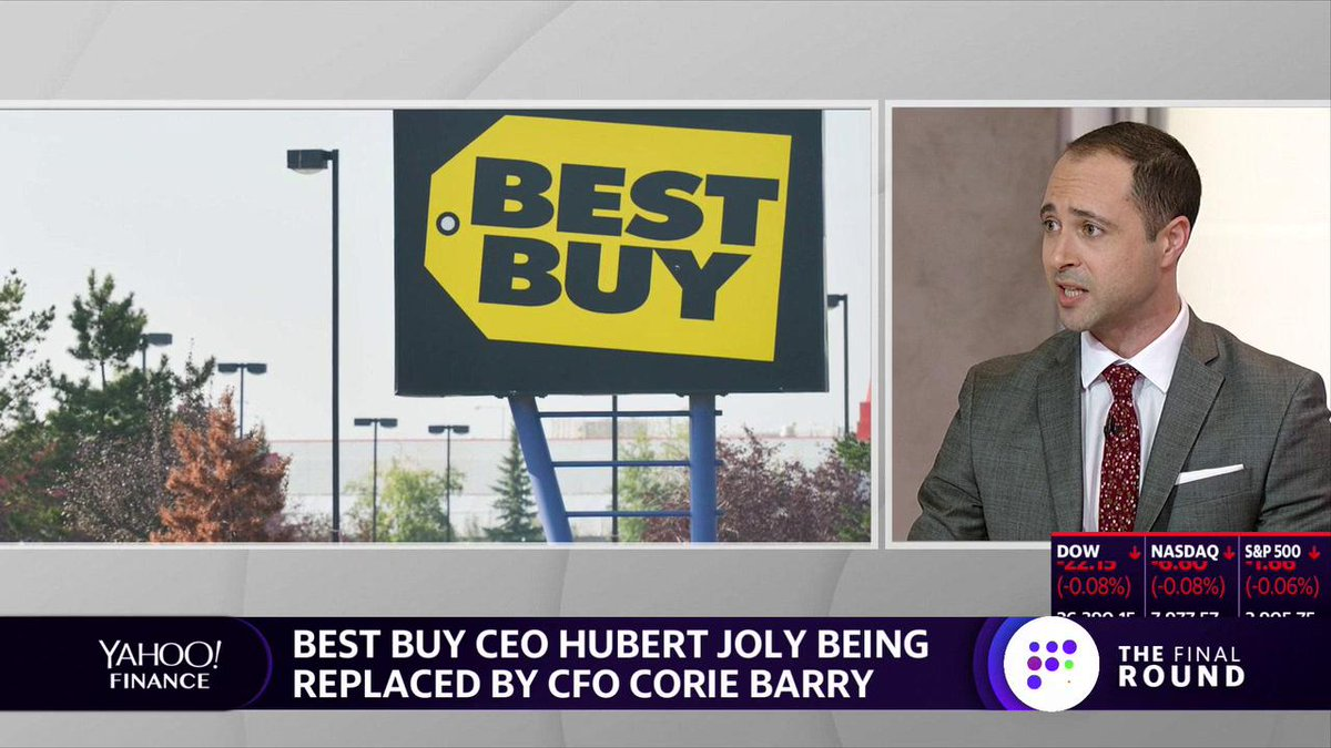 "Highlight: ""[Incoming $BBY CEO Corie Barry] has been groomed for this position,"" @briansozzi says. ""She knows every part of that Best Buy business and this has been telegraphed by the market. But, she has a really tough act to follow."" http://finance.yahoo.com/"
