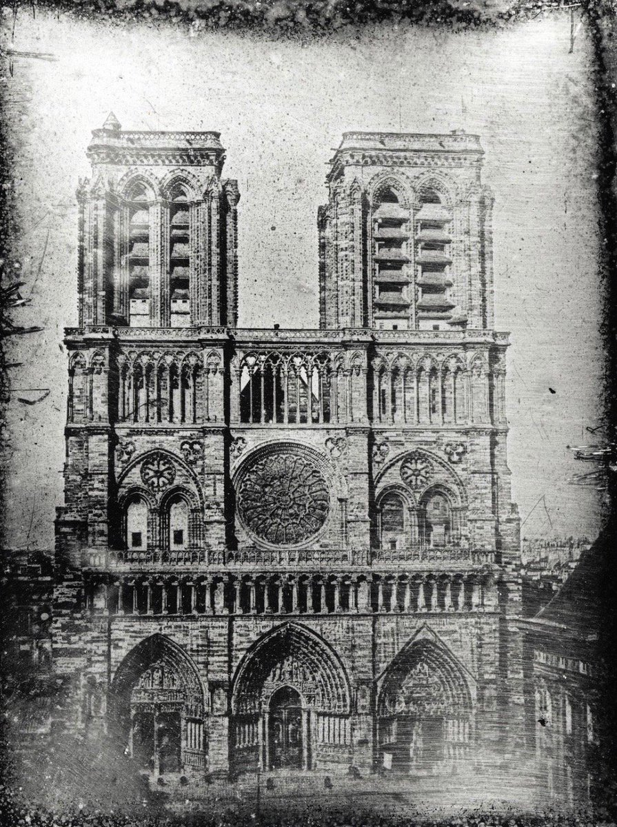 Notre Dame, photographed in 1839 or 1840:               #Lerebours