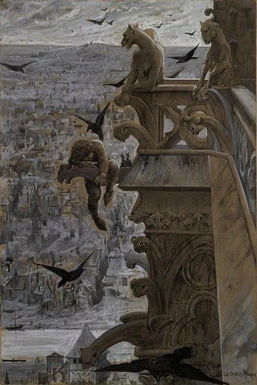 """Les gargouilles de Luc-Olivier Merson, peintes en 1881 pour illustrer le """"#NotreDame de Paris"""" de Victor Hugo"""