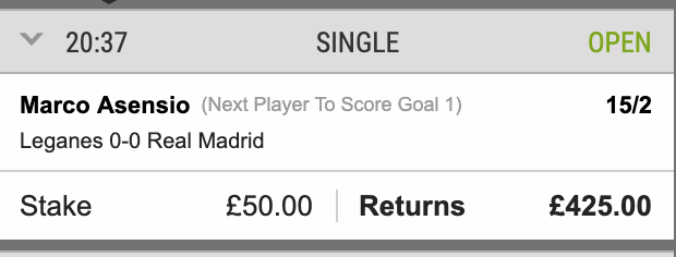 BUT TO MAKE IT UP TO YOU I AM GIVING AWAY 50 QUID CASH IF MARCO ASENSIO SCORES FIRST FOR MADRID   LIKE  AND RETWEET  TO ENTER (HAVE TO BE FOLLOWING ME) GOOD LUCK! #GIVEAWAY<br>http://pic.twitter.com/3G18G9b9dG