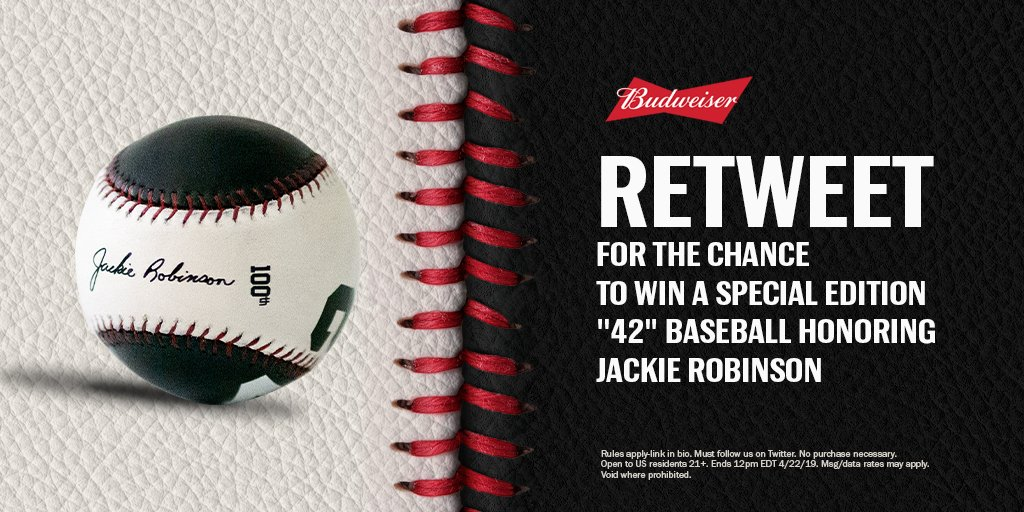For #JackieRobinsonDay, we&#39;re celebrating the life of an American hero with a special baseball befitting his one-of-a-kind legacy.    RETWEET this post for your chance to win one of our custom &quot;42&quot; baseballs, crafted in honor of #Jackie42. #ThisBudsForJackie<br>http://pic.twitter.com/8gdFjuUg0C