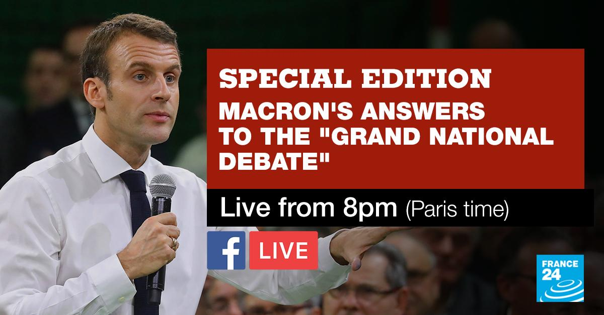 #LIVE: @EmmanuelMacron to announce the first concrete measures in response to the #GrandDebat  Follow our special edition from 8pm (Paris time)! #macron20h <br>http://pic.twitter.com/ZhVBUMB2al