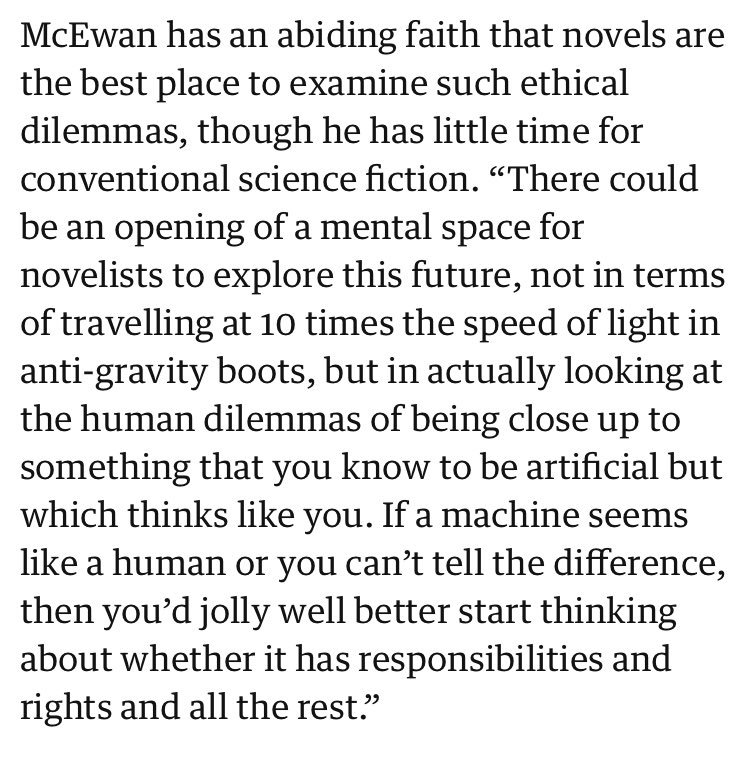 Genius. Ian McEwan has done it again—a writer tackling the issue of whether a robot might SEEM human, in a LITERARY novel. I just can&#39;t believe no one has ever thought of it before. Hats off to you, sir. <br>http://pic.twitter.com/b8hLGhz8tP