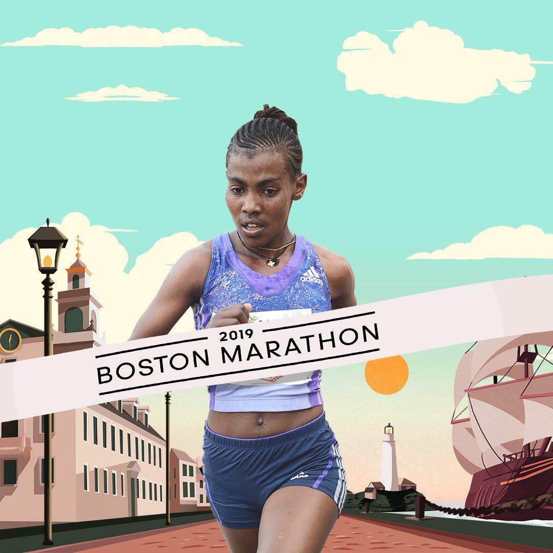 26.2 miles over matter. Worknesh Degefa, 2019 @BostonMarathon winner. #HereToCreate