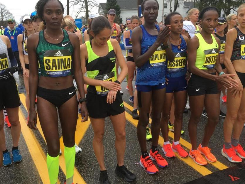 Ethiopia's Worknesh Degefa won the women's race in the 123rd Boston Marathon. She set the Ethiopian national record with a 2:17:41 time in this year's Dubai Marathon, in which she finished second.  http:// bos.gl/0gvUI5j     <br>http://pic.twitter.com/VVaIAyYG6y