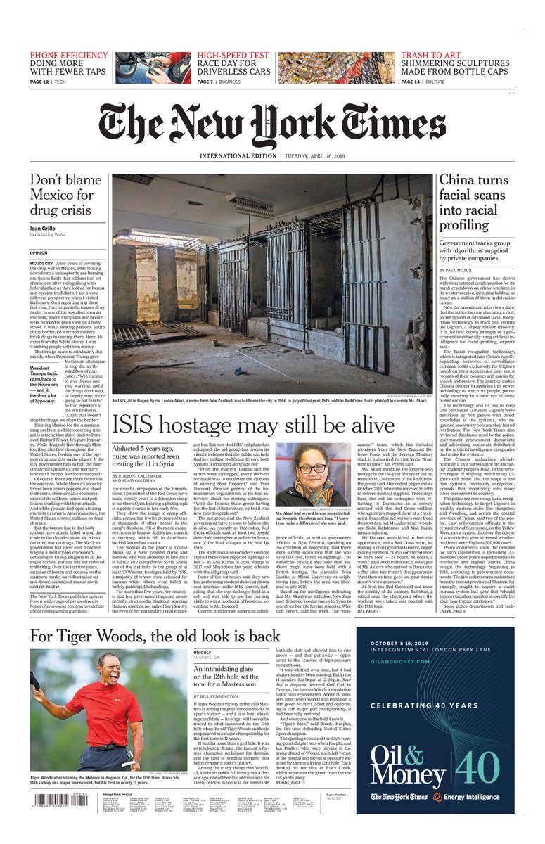 Tomorrow's @nytimes International Edition: Red Cross believes ISIS hostage may still be alive by @rcallimachi and @adamgoldmanNYT || China turns facial scans into racial profiling by @paulmozur || For the latest visit http://nytimes.com #insidethepapers #tomorrowspaperstoday