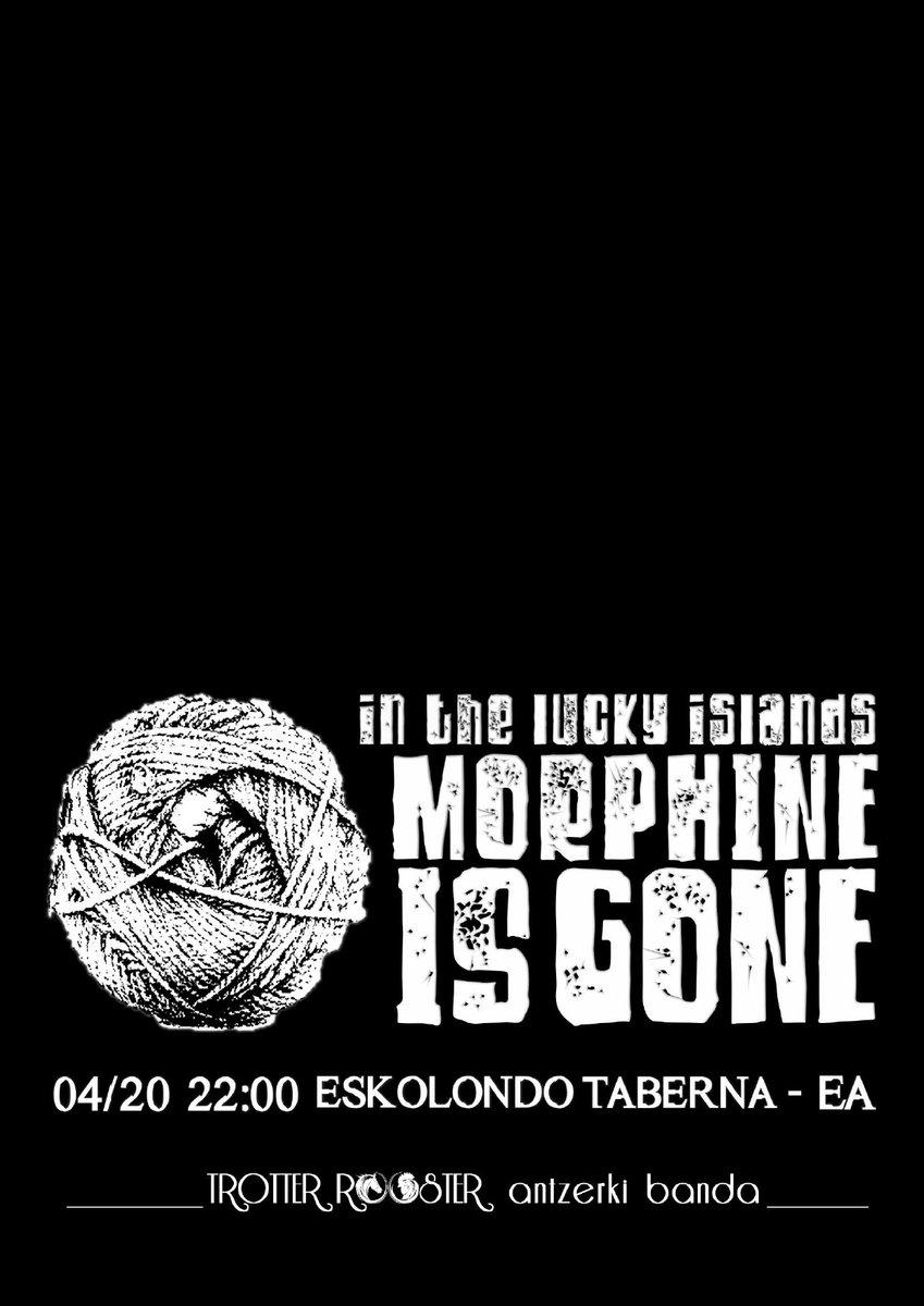 """Antzerkia eta musika ustartuko dituzte """"In the lucky islands, morphine is gone"""" emankizunean.  Animatu!  #Eskolondo #Ea #Kultura #IetaRock #Musika #Kontzertua #Antzerkia #Rocka #TrotterRooster #Intheluckyislandsmorphineisgone"""