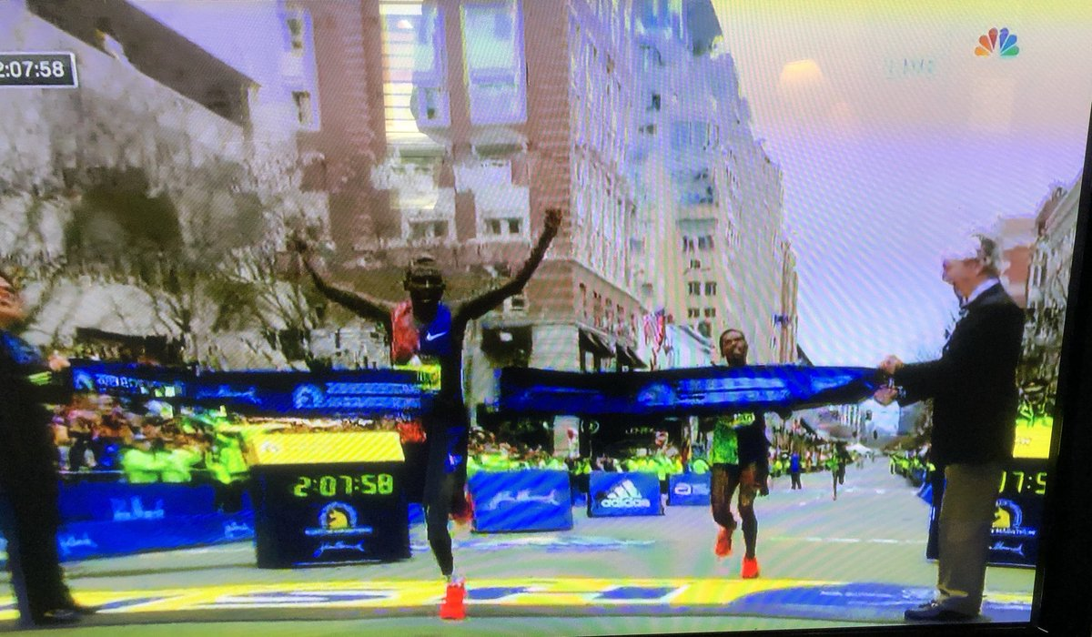 Congratulations to Lawrence Cherono for winning the Boston Marathon and Edna Kiplagat for a second place finish in the women&#39;s race. Athleticism, grit, determination and focus clinch the day. #BostonMarathon2019 #Boston2019<br>http://pic.twitter.com/u6C3WF6mqb