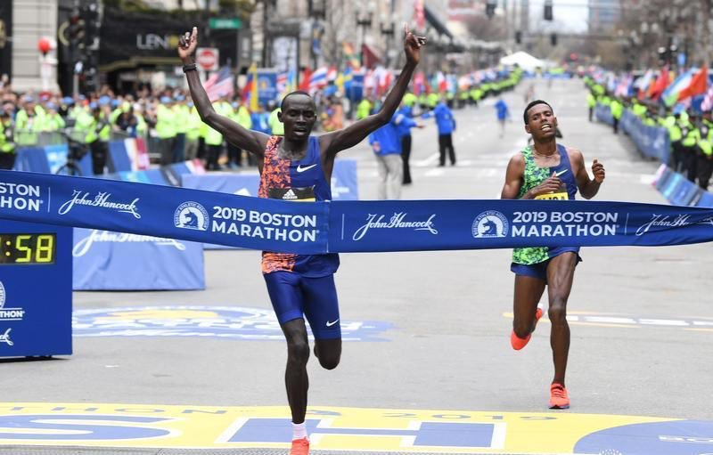 What a sprint to the finish!  In his first ever Boston Marathon appearance, our very own Lawrence Cherono has emerged the winner. Hongera sana. You have made Kenya  proud. #BostonMarathon #BostonMarathon2019 #AskKirubi<br>http://pic.twitter.com/Y3ojm3mm6I