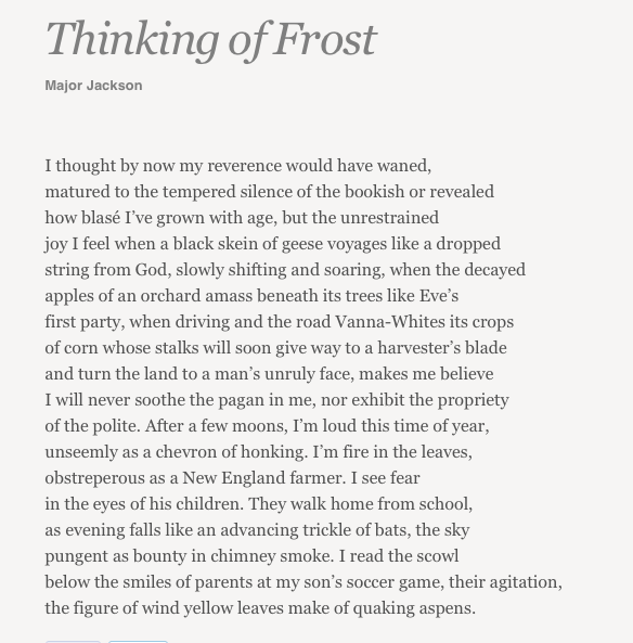 &quot;...the unrestrained joy I feel when a black skein of geese voyages like a dropped string from God...&quot;  --from @Poet_Major&#39;s &quot;Thinking of Frost,&quot; @POETSorg. #NationalPoetryMonth<br>http://pic.twitter.com/7oicSFnpF8