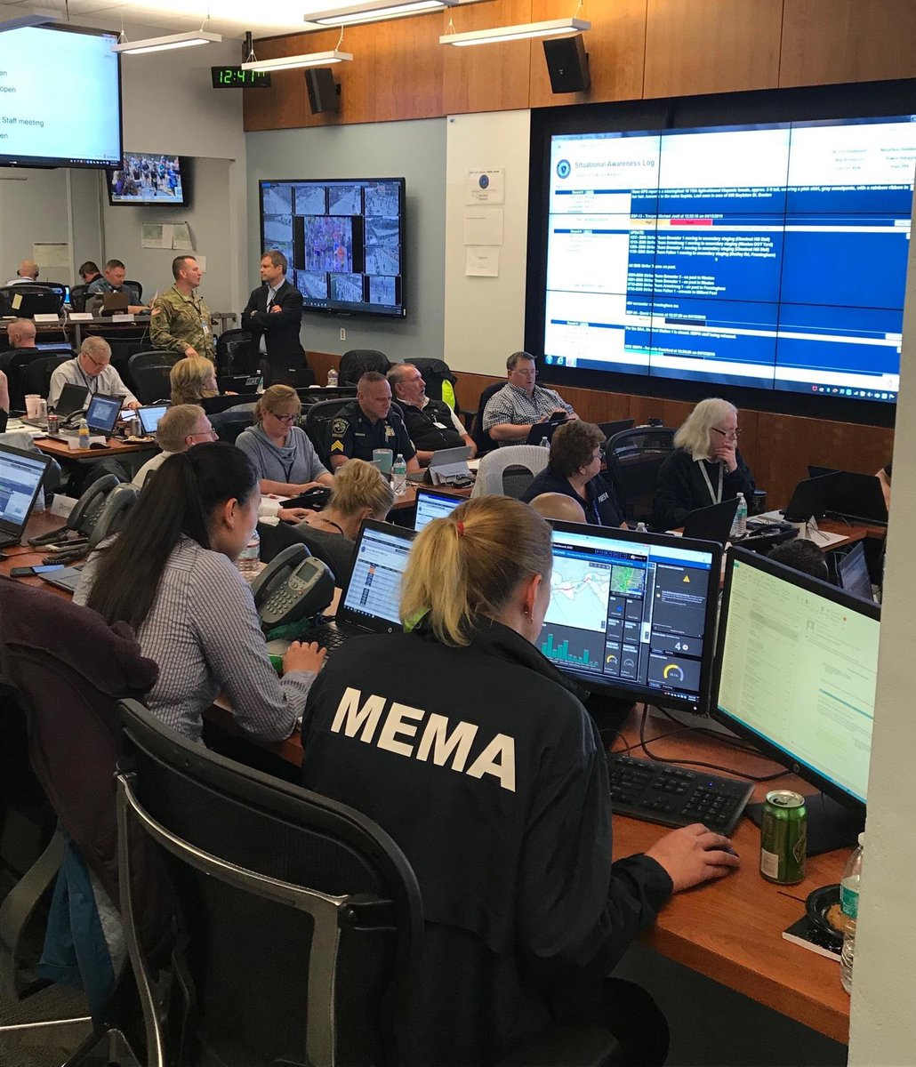 Weeks of planning came to a successful start for the 123rd Boston Marathon! Here at the MEMA Unified Coordination Center, members of all 8 communities along the route are gathered with federal and state agencies to coordinate and ensure a safe and enjoyable day for all involved! <br>http://pic.twitter.com/4Xq5PY9Uyv