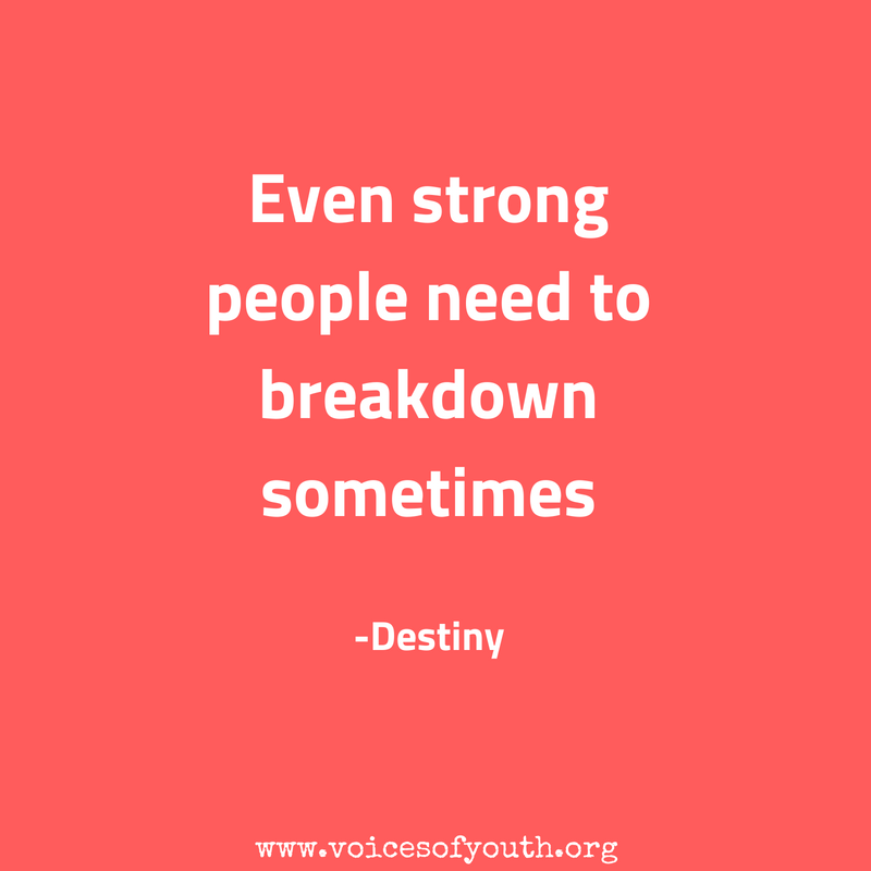 Even strong people need support. An important #MondayMotivation reminder from @voicesofyouth