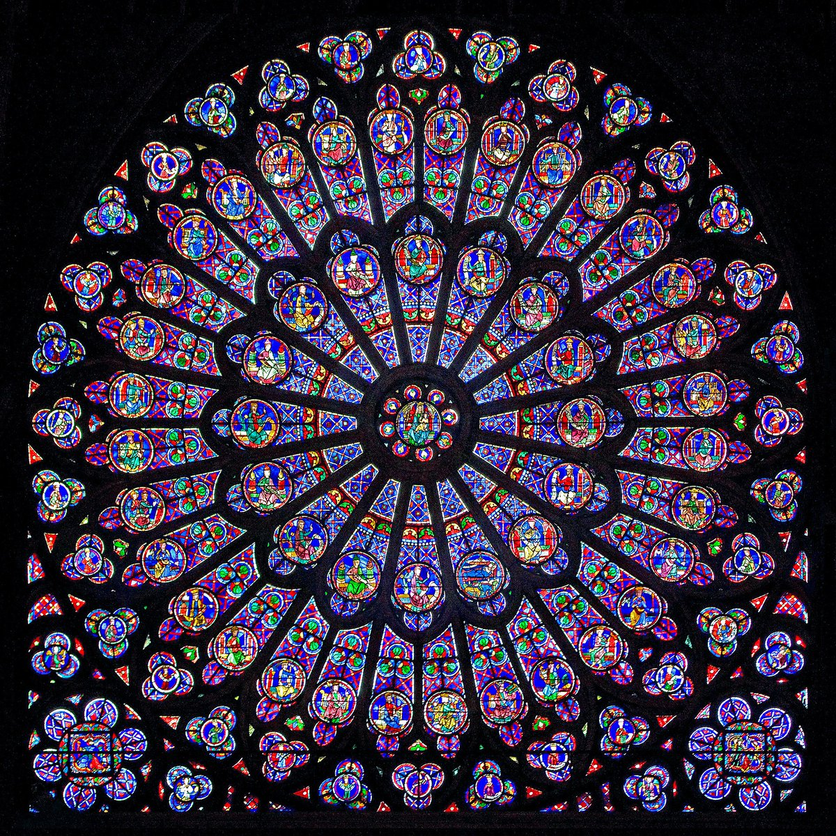 Notre-Dame de Paris, the north rose window (created circa 1250 CE).