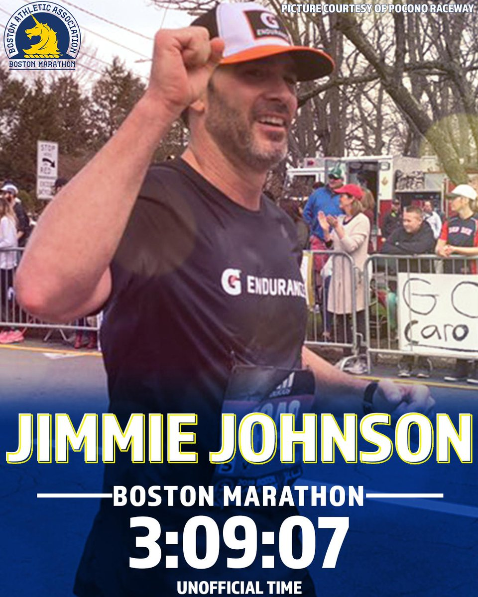 Congratulations to @JimmieJohnson on completing the #BostonMarathon!  His unofficial time: 3 hours, 9 minutes, and 7 seconds. <br>http://pic.twitter.com/biiMJIgtCT