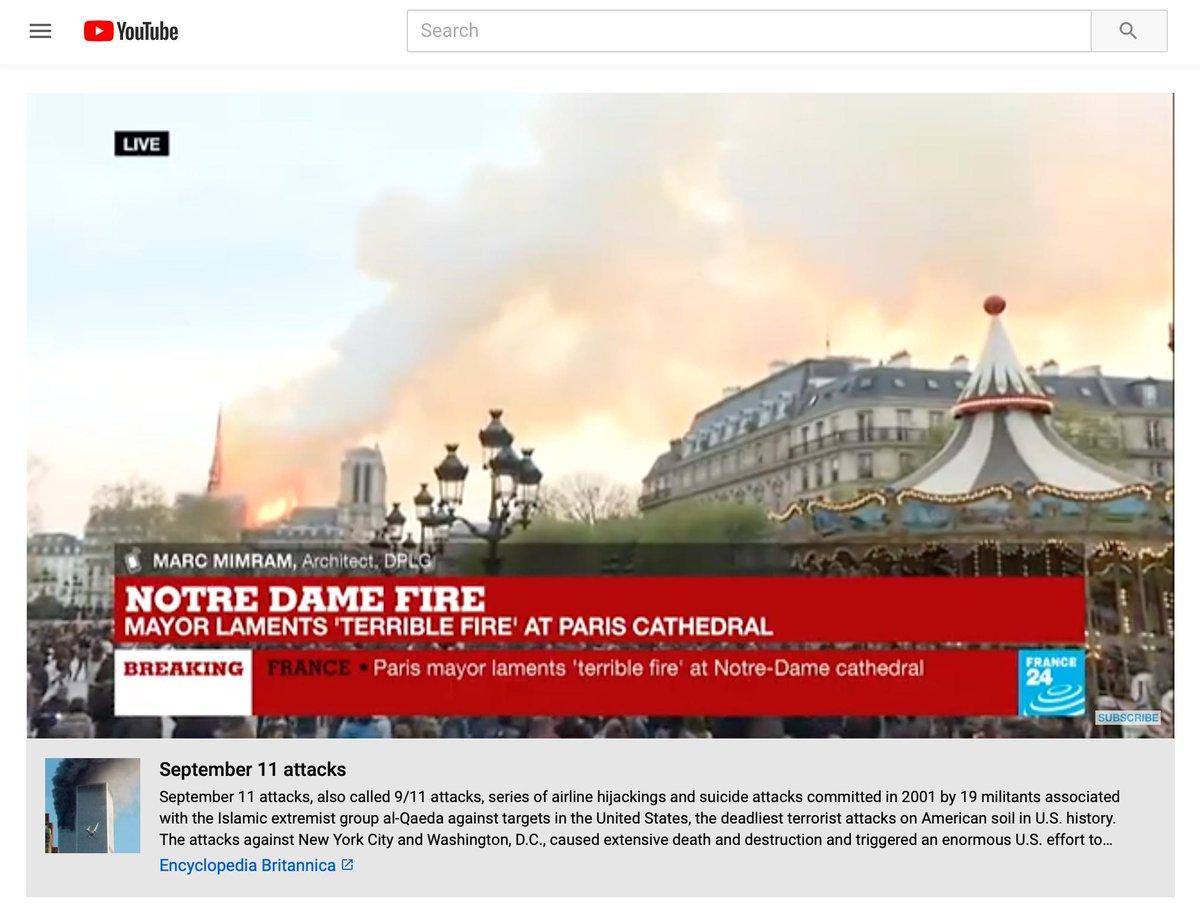 YouTube、ノートルダム大聖堂の火災動画に9.11テロ情報を誤ってリンク アルゴリズムが誤って解釈か