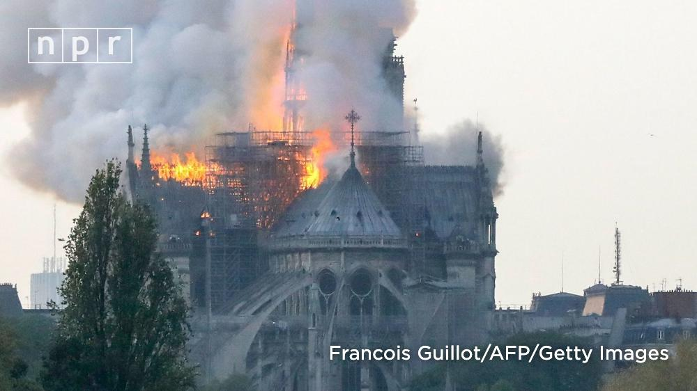 A major fire broke out at one of the most well-known buildings in Paris, the medieval #NotreDame Cathedral.  There was no immediate word on the cause of the blaze or of potential victims. https://n.pr/2V1zHxY