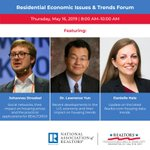 Join our speakers, Dr. Johannes Stroebel, Lawrence Yun, and Danielle Hale at the Residential Economic Issues & Trends Forum on Thursday, May 16. Visit https://t.co/Q8Hx7VEZgf to learn about this session.