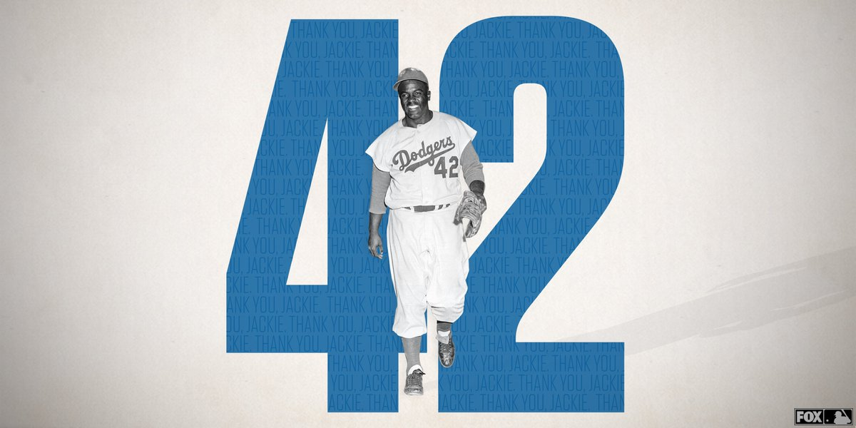 72 years ago today, Jackie Robinson became the first African-American to play in MLB and break the color barrier.   Thank you, Jackie. #JackieRobinsonDay <br>http://pic.twitter.com/EOzLWgetyH