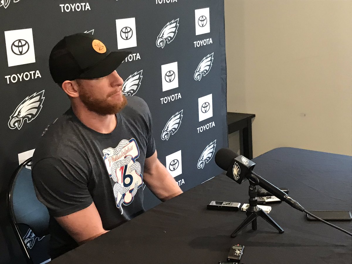 Carson Wentz summary: Back still healing. Doing some throwing and running. Trying to be patient. ...Asked about durability question, says 'I get it.' ...Will leave contract stuff to agent. ...Not trying to change leadership style. ...Feels like first day of school.
